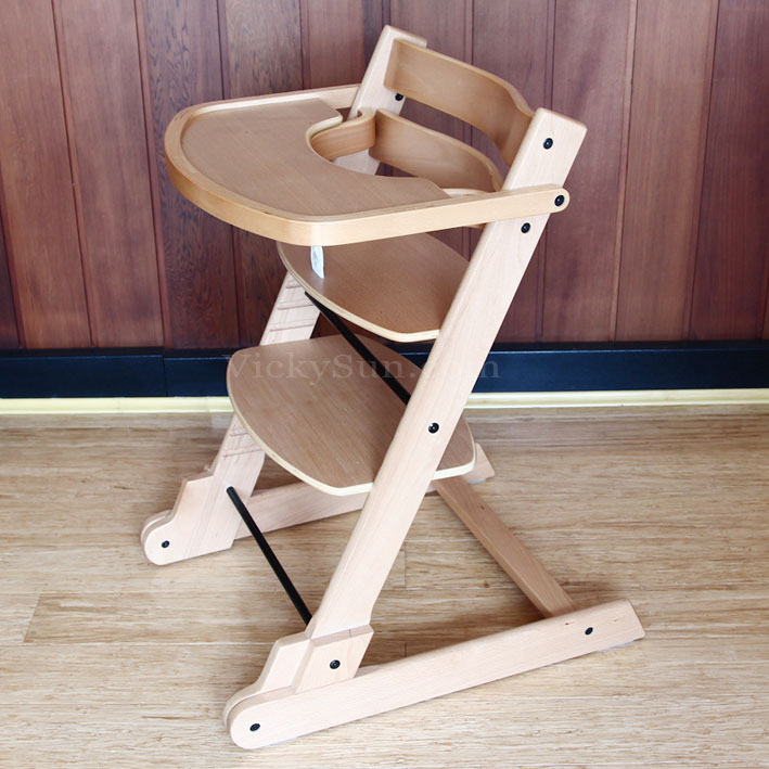 natural solid wooden folding baby high chair with tray ebay. Black Bedroom Furniture Sets. Home Design Ideas